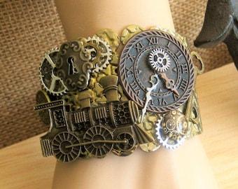 Steampunk Train Cuff Bracelet, Cuff Bracelets, Steampunk Jewelry, Assemblage Cuff Bracelet, Steampunk Bracelet, Unisex Cuff Bracelets, SB005
