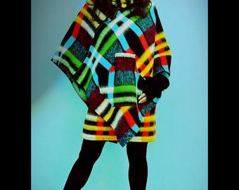 Upcycled Blanket Cape Poncho Red Green & Blue Check Pattern