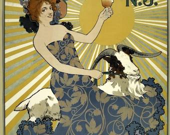 antique art nouveau beer poster pinup illustration digital download