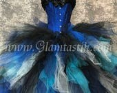 Size Small Blues white and Black Burlesque Corset tulle ball gown READY TO SHIP witch costume day of the dead with lace collar costume