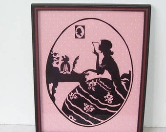 Black and Pink Silhouette Framed Picture, Victorian Lady Oval Black Silhouette on Pink Polka Dot, Wall Art, Interior Design