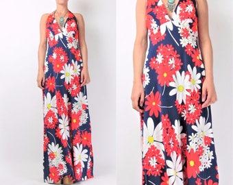 Vintage 70s FLOWER POWER Dress 1970s Halter Maxi Dress Floral Daisy Print Dress Resort Summer Navy Cut Out Back Backless Dress M/L E10090