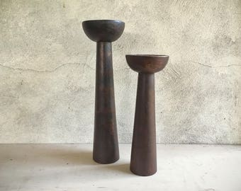 Set of two Midcentury Modern wood candleholders, Danish Modern decor, bohemian decor candle holder wood, candle holder set rustic home decor