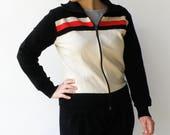 Vintage 80s Jacket / Striped Zippered Jacket / Size M L