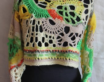 Multicolor Asymmetric Chunky Freeform Crochet Sweater  Top - Cropped Sweater Top - Long Sleeved - Wearable Art - OOAK