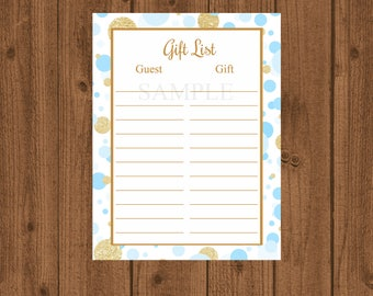 Pink Gold Baby Shower Gift List, Pink Gold Birthday Gift List, Instant Download, Pink Gold Baby Shower, Pink Gold Birthday, Instant Download