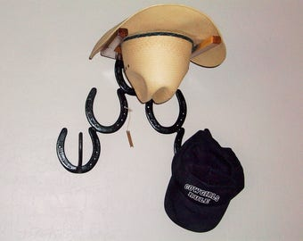 Cowboy Hat Rack Horseshoes and Aromatic Cedar  Great for Brim Hats and Ball Caps Made in the USA