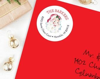 Christmas Address Labels - Watercolor Vintage Santa - Sheet of 24