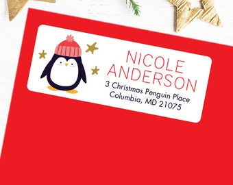 Christmas Address Labels - Holiday Address Labels - Penguin - Sheet of 30