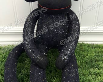 CLEARANCE - Blue/Black Knit Sock Monkey Doll - optional Name Embroidered