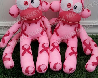 CLEARANCE - Pink Ribbon Sock Monkey Doll - Optional Name Embroidered