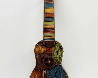 Colorful Steampunk Style Assemblage Art Industrial Style Ukulele Non-play