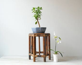Vintage Bamboo Plant Stand, Bamboo Display Stand