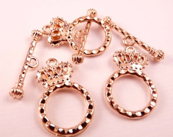 Gold Toggle Clasp Crown Clasps Gold Clasp Gold Findings Gold Crown Gold Beads Crown Beads
