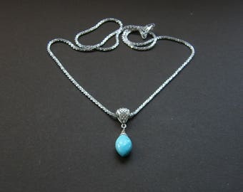 Dainty turquoise necklace, Sleeping Beauty turquoise necklace in sterling silver, extremely sparkly Tocalle silver chain with marquise gem