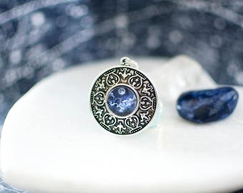 Blue Moon in the Clouds Necklace. Silver Moon Necklace. Moon Pendant. Moon Jewelry. Celestial Necklace. Boho Necklace.
