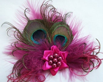 Small Shades of Raspberry Cerise Pink Peacock Feather & Pearl Vintage Mini Fascinator Hair Clip- Ready Made #etsygiftsos