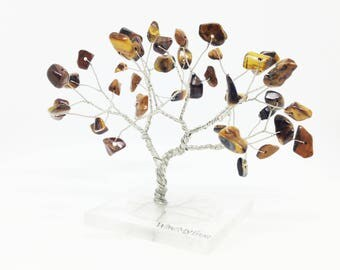Tiger Eye gemstone wire tree statue silver brown yoga tree of life minimal home decor solar plexus chakra art tree hostess gift under 25