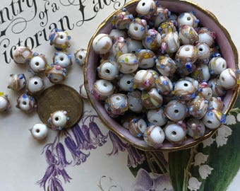 Vintage Wedding Cake Beads, Glass Beads, Art glass, NOS Lot 7mm, Flower beads, Pink Venetian Roses Colorful #B81