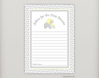 Elephant Advice Cards, Elephant Advice for New Parents, Mom-to-Be, Gray and Yellow Chevron, Neutral Baby Shower, PRINTABLE INSTANT DOWNLOAD