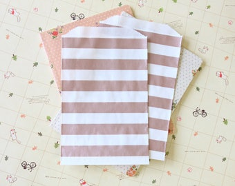 Horizontal Stripe ROSE GOLD Middy Bitty Bags medium paper bags