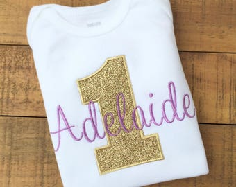 First Birthday Girl - Girls First Birthday Outfits - Purple and Gold First Birthday Shirt - Frozen Birthday Shirt - Pink and Gold Birthday