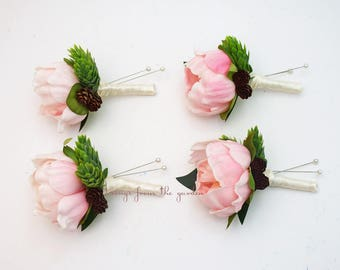 Pink Peony Boutonnieres - Hops and Pinecone Accents -  Groom Groomsmen Boutonnieres Prom Homecoming Boutonniere