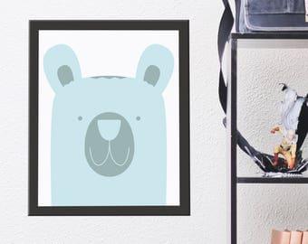 Kids Room Bear Animal Print, Wall Art, Nursery Room Poster, Printable Kids Gift, Printable Artwork, Instant Digital Download, Cute Blue Bear