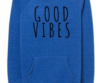 sweatshirt - good vibes - geometric - heather blue - rabbits - text - type-  fleece - hoodies - kangaroo pocket graphic hoodie - womens