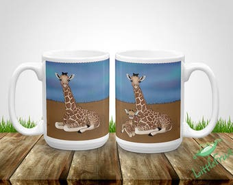 Cute Giraffe Mug - Kids Drinking Cup - Personalized Mommy and Baby Gift - Expecting Parents Baby Shower Gift - Gift for Kids - Mommy Gift