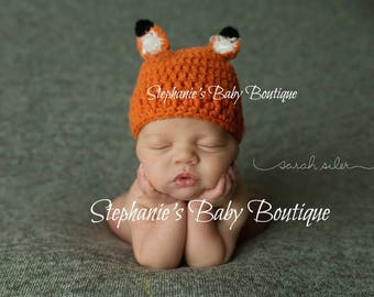 Crochet Baby Boy or Girl Fox Hat, Newborn, 0-3 Months, 3-6 Months, Custom Made to Order, Animal Beanie, Handmade, Photo Prop, Shower Gift