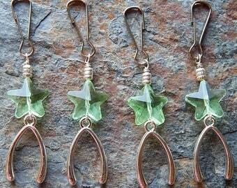 Lucky star keychain - wishbone charm - make a wish key chain - cute car charm - rearview mirror - zipper pull - clip on purse jewelry