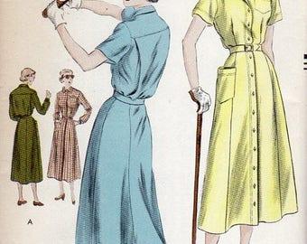 1940s Sporty Shirtdress - Vintage Pattern Vogue 6803 - Bust 44 FF
