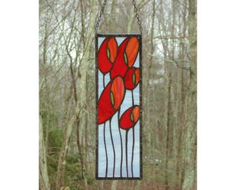 Stained glass panel, bright red Poppy flowers, modern abstract stained glass window panel, glass suncatcher tiffany copper foil panel