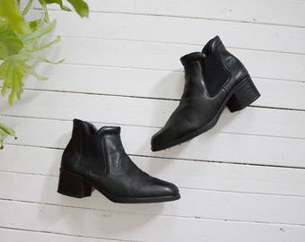 Vintage Chelsea Boots 8.5 / Leather Ankle Boots / Black Leather Boots / Leather Chelsea Boots / Black Chelsea Boots / Ankle Boots Women