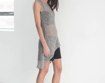 NEW Sleeveless Blouse / Asymmetric Sweater / Summer Jumper / Grey Sweater / Knitted Sweater / Marcellamoda - MB830