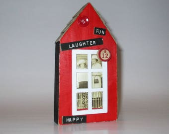 Little Red Tiny House Altered Art Assemblage Two Sisters in a Tiny Art House