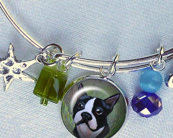 Boston Terrier Charm Bracelet ~ Girlfriend Gift ~ Wire Bangle ~ July Birthday ~ Boston Terrier Owner Gift ~ Boston Terrier Jewelry