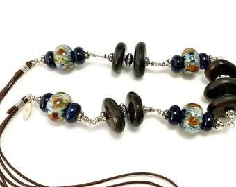 Lampwork Necklace, Wire Wrap Necklace, Wood Necklace, Silver Necklace, Leather Necklace, Ooak Necklace, Statement Necklace - Citlamina