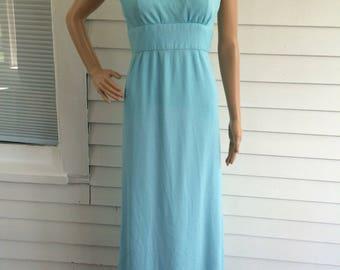 70s Blue Maxi Dress Sleeveless Long Vintage Retro XS