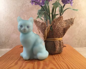 Fenton Sitting Cat Satin Glass Blue Turquoise Handpainted Signed A Hill Figurine