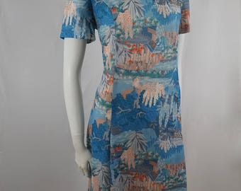 Vintage Styled by Debna Fashions Melbourne  50s 60s Pastel Blue Tropical Printed Skater Dress Made in Australia