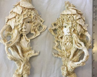 Pair of Wood Nymph wall plaques