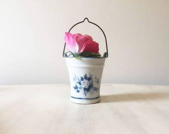 Vintage china bucket, trinket pot, miniature bucket, vintage bucket, vintage pot, vintage storage, sugar bucket, vintage pail, sugar pail