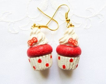 Red Cupcake Earrings / Cute Earrings / Food Earrings / Red / Bow / Cupcake / Polymer Clay / Charm / Earrings