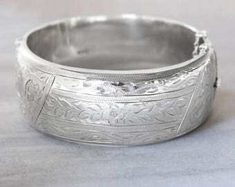 Sterling Silver Bangle Bracelet, Vintage 1958 Floral Vine Engraved Hallmarked Lady's Cuff with Clasp - Primrose