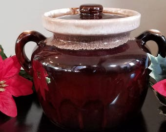 Vintage McCoy Pottery Cream Brown Double Handle Bean Pot Cookie Jar w/ Lid