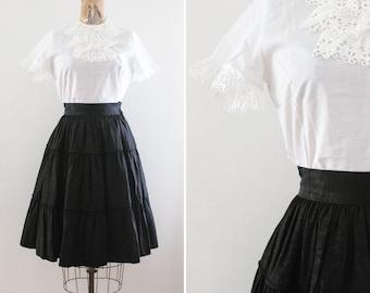 1950s Skirt Small - Vintage 50s Circle Skirt - 1950s black Skirt - New Look - 50s Full Skirt Rockabilly Pin Up Mad Men