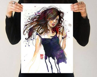 Captive | Japanese Purple Watercolor drippy abstract flowy Girl Asian dreamy surreal beautiful gorgeous print artwork zen