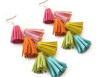 Tassel Earrings, Rainbow Earrings, Leather Earrings, Fringe Earrings, Festival Earrings, Boho Earrings, Statement Earrings, Long Earrings